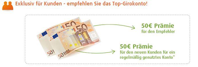 Neukunden können 50,- Euro bekommen.