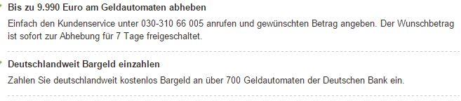 Abheben und Einzahlen deutschlandweit kostenfrei