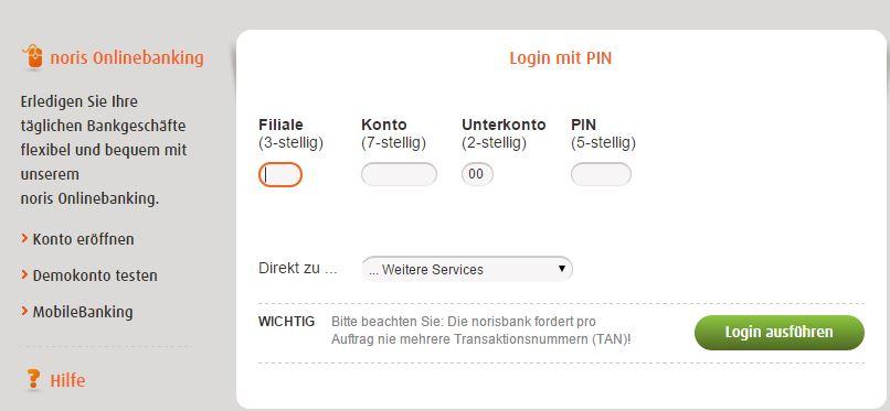 Dispo online bei norisbank beantragen