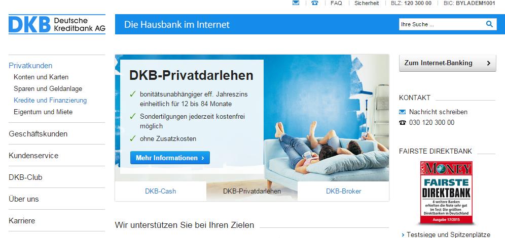 Das Angebot der DKB umfasst günstige Privatdarlehen