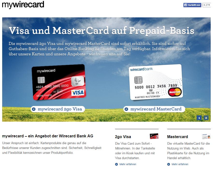Das Prepaid Kreditkartenangebot der Wirecard Bank