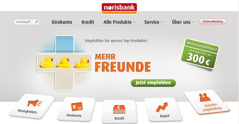 Der Web-Auftritt der norisbank
