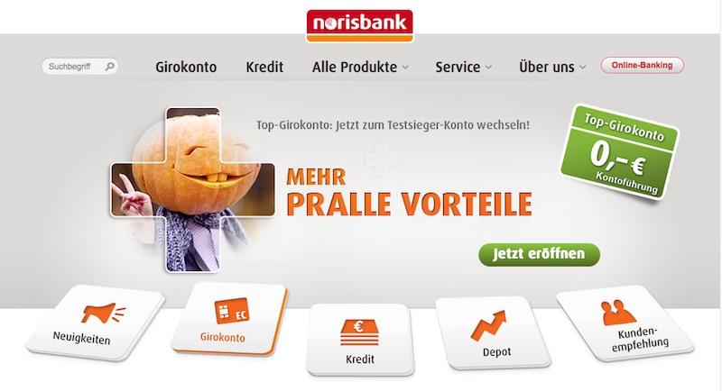 Die Webseite der norisbank