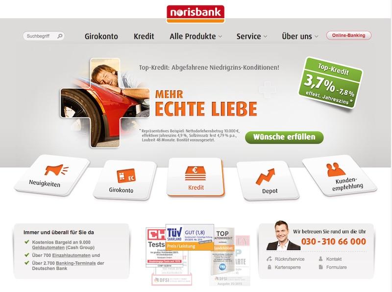Die Homepage der norisbank