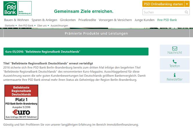 PSD Bank Berlin Brandenburg Auszeichnung