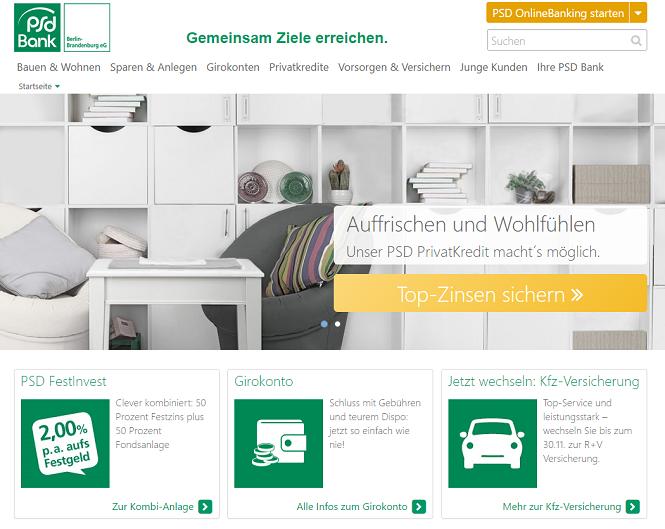 PSD Bank Berlin Brandenburg Webseite