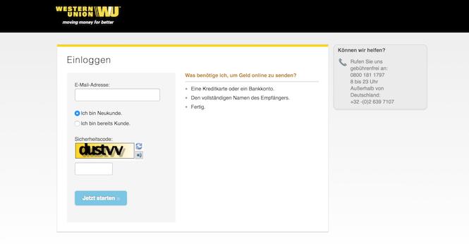 Western Union Registrierung