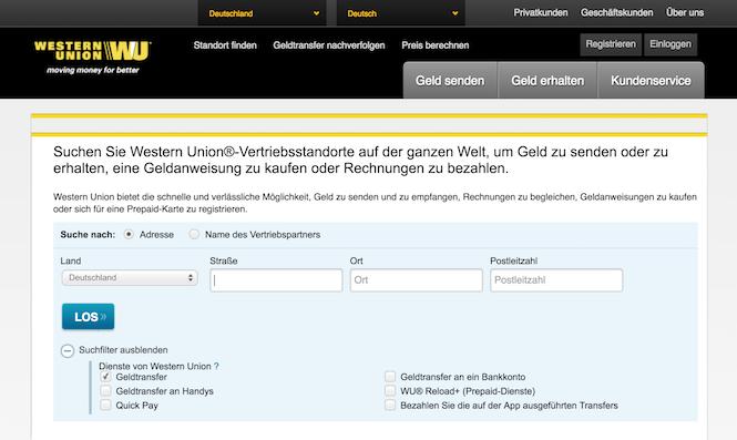 Western Union Standort-Suche
