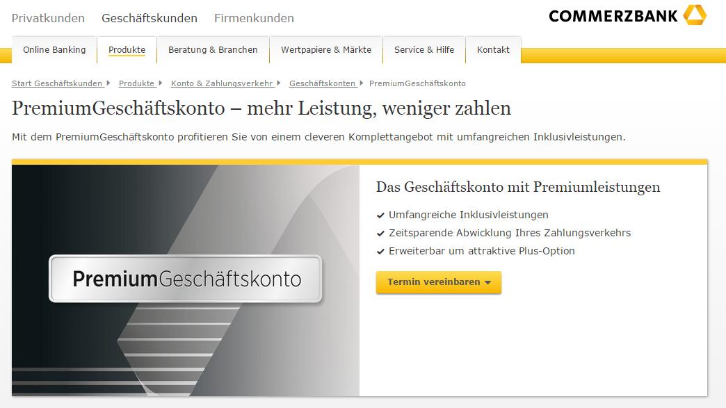 Commerzbank Geschäftskonto mit Premiumleistungen