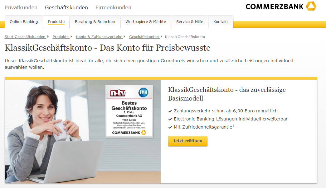 Commerzbank Geschäftskonto Basismodell