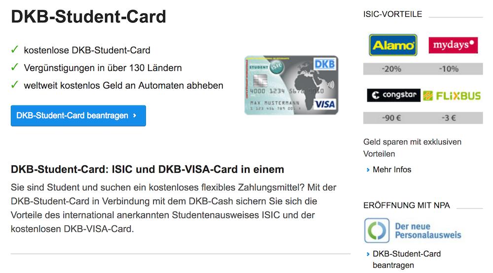 Auch die DKB-Student-Card bietet Vergünstigungen bei verschiedenen Unternehmen an