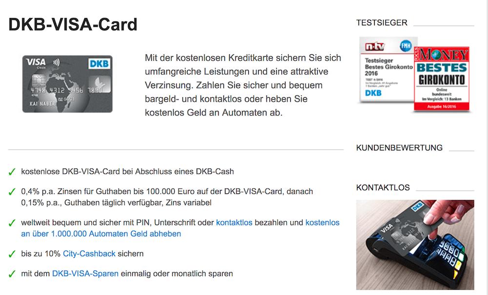Die DKB-VISA-Card bietet einen Cashback-Bonus