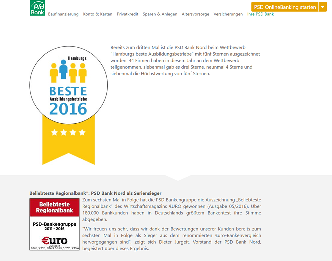 PSD Bank Nord Auszeichnungen