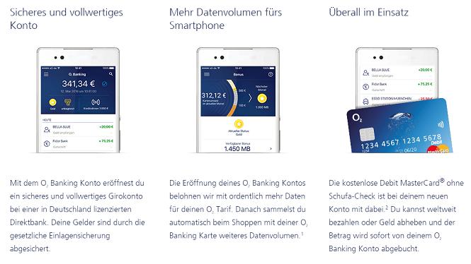 o2 Banking Vorteile Überblick