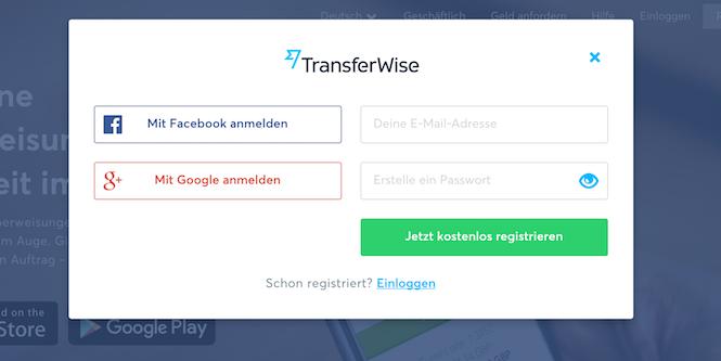 TransferWise Registrierung