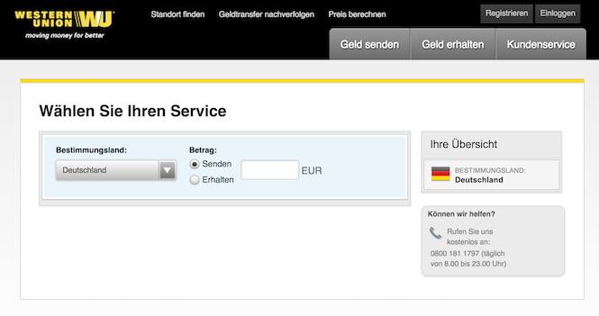 Western Union Geld versenden wu app