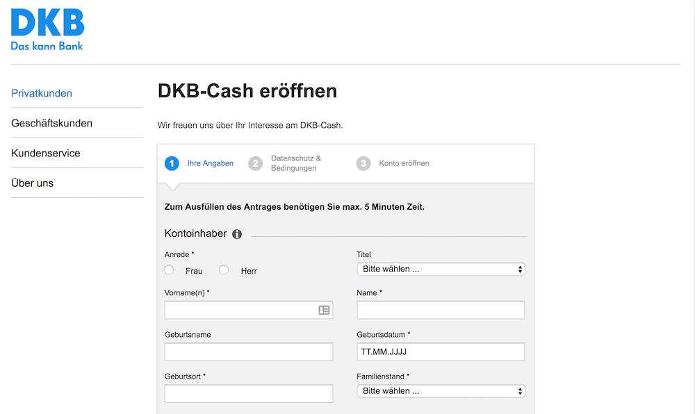 DKB-Cash Konto Eröffnung
