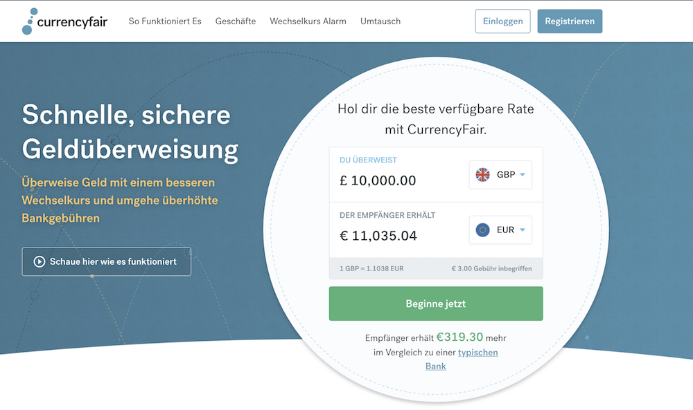 CurrencyFair Webseite
