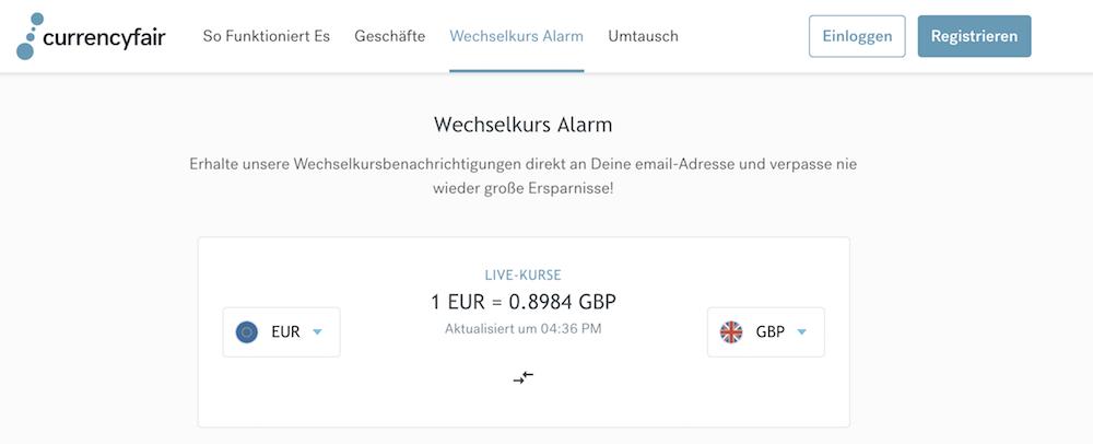 CurrencyFair Wechselkurs-Alarm