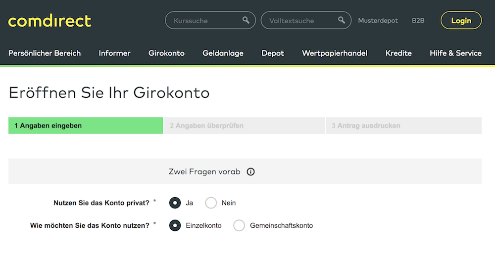 comdirect Girokonto Eröffnung