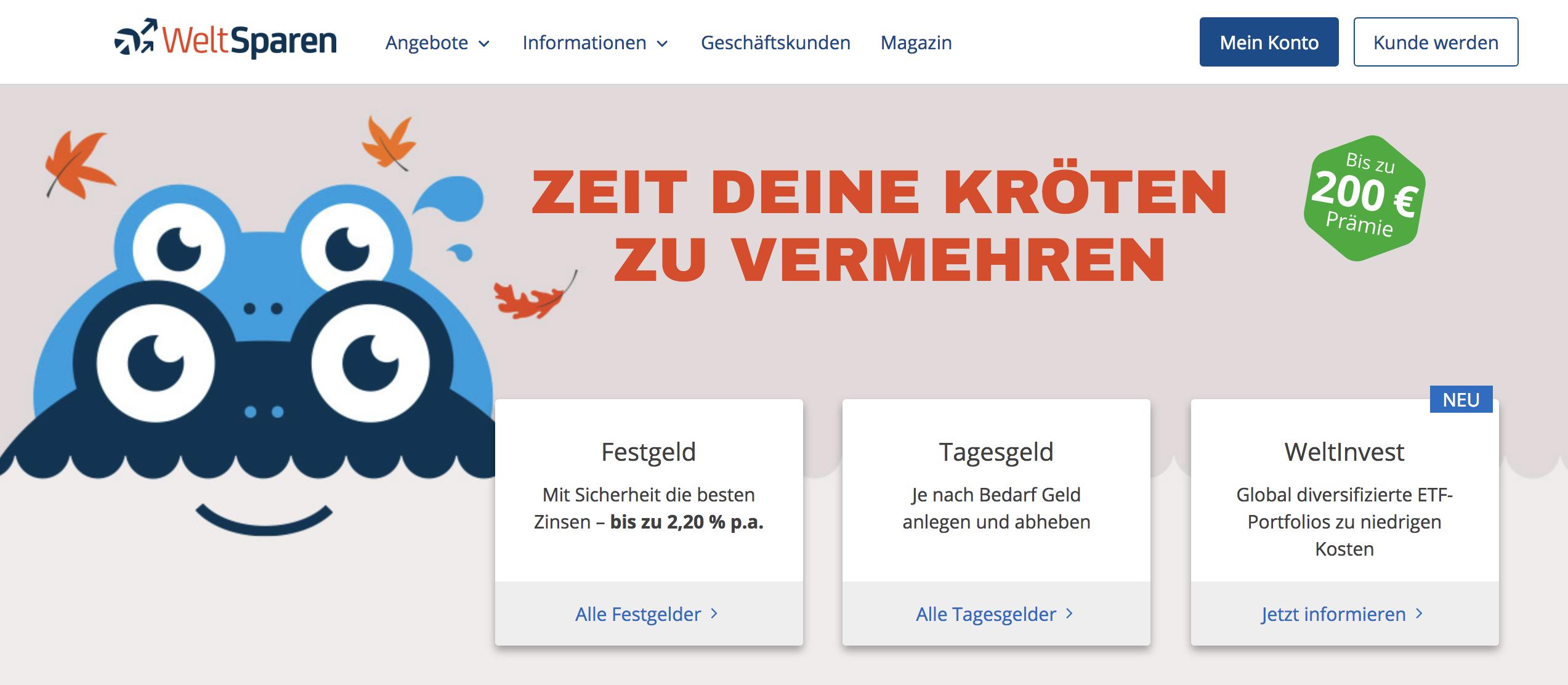 Bis zu 200,00 Euro Prämie warten bei WeltSparen auf neue Kunden