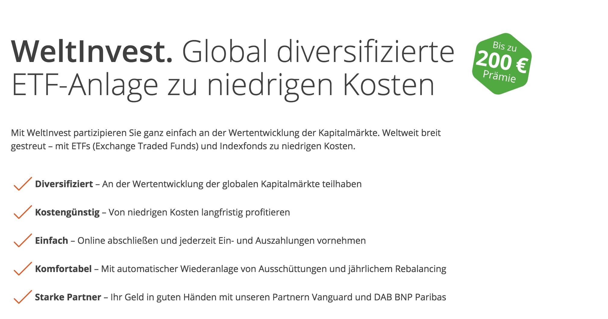 WeltSparen Robo Advisor WeltInvest