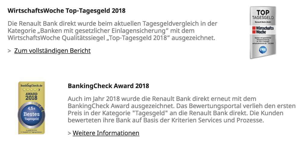 Renault Bank Direkt Auszeichnungen