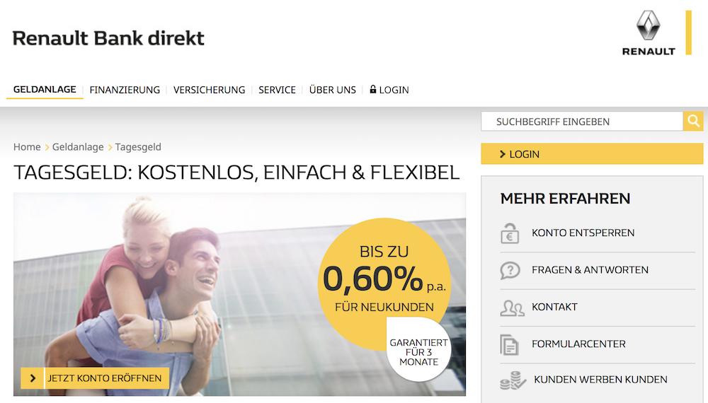 Renault Bank Direkt Tagesgeld Erfahrungen von BestesGirokonto.net