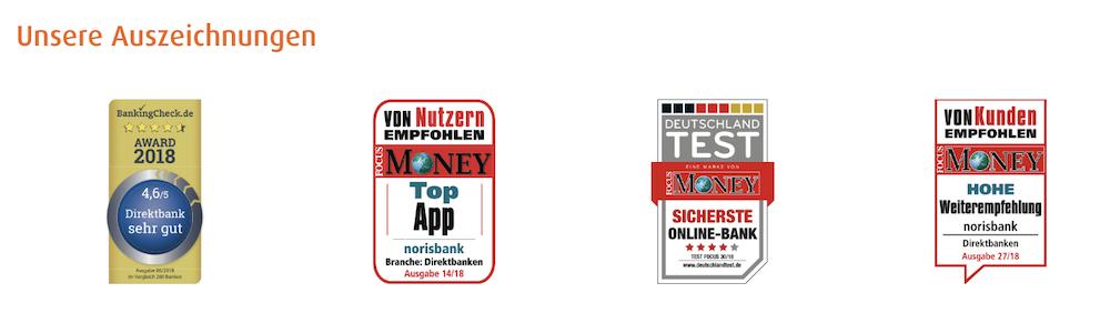 norisbank Auszeichnungen