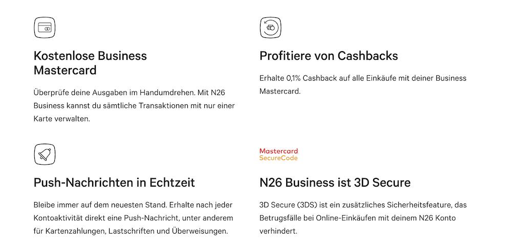 N26 Business Vorteile