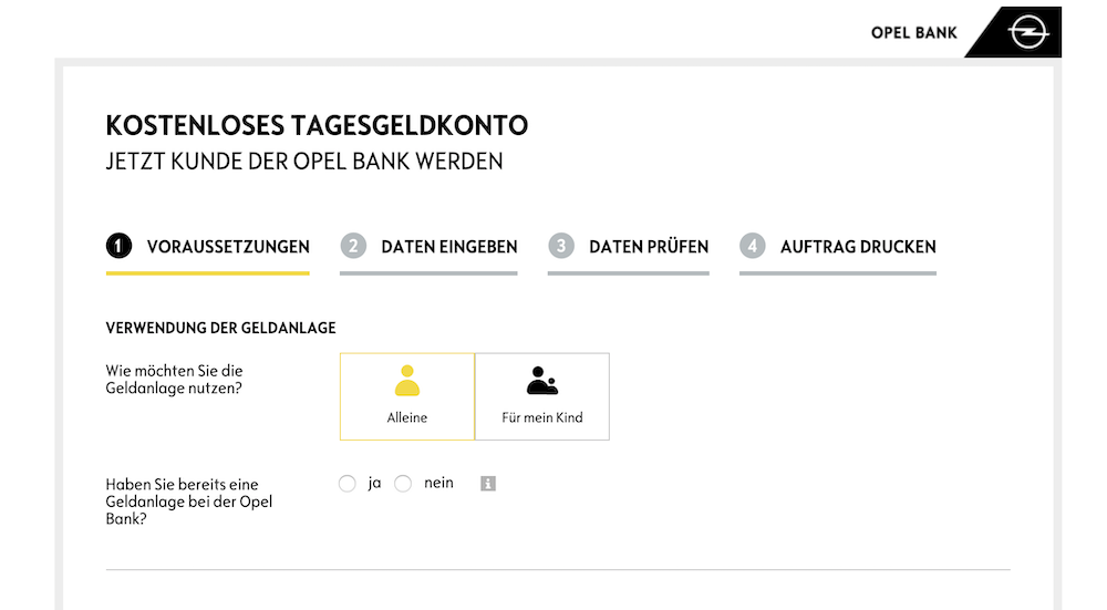 Opel Bank Tagesgeld Konto eröffnen